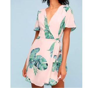 Lulus Villa Marie Blush Pink Palm Leaf Wrap dress